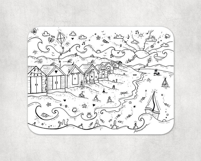 Colour In Welsh Beach Placemat and Pens