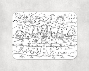 Colour In Welsh Castle Placemat and Pens