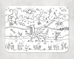 Colour In Welsh Dragon LARGE Placemat and Pens