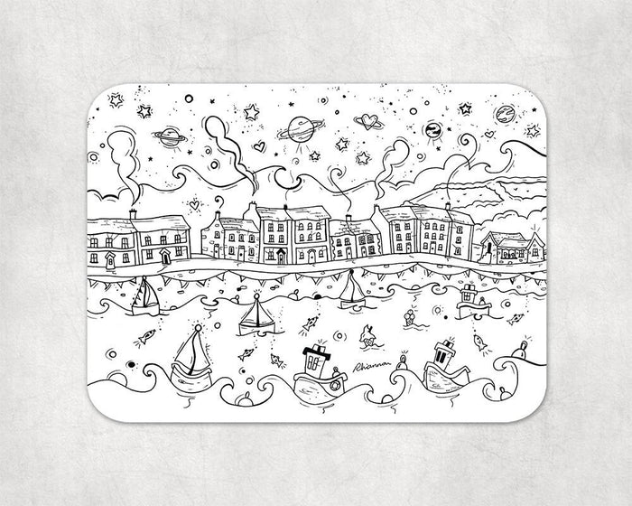 Colour In Welsh Harbour Placemat and Pens
