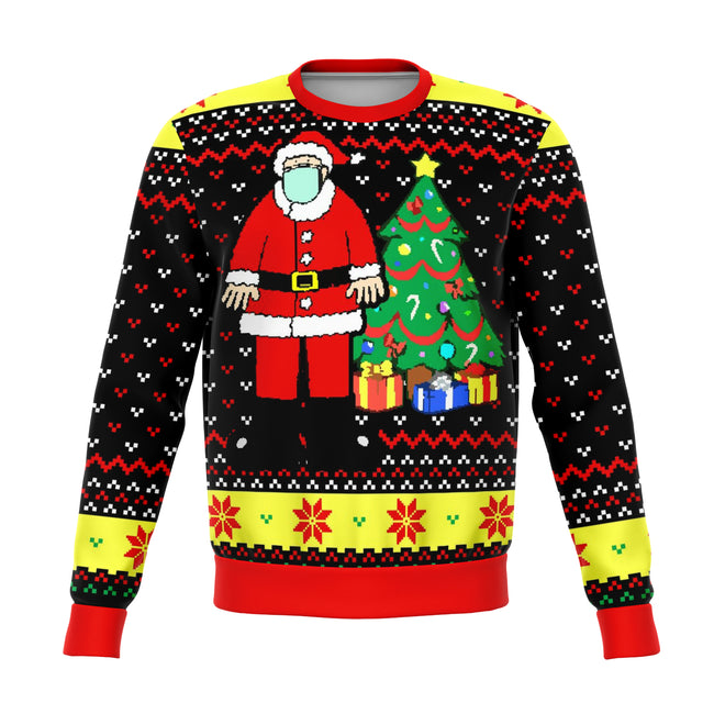 Santa Face Mask Cringe Ugly Christmas Sweater - OnlyClout