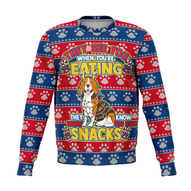 They See You When Your Eating Ugly Christmas Sweater - OnlyClout