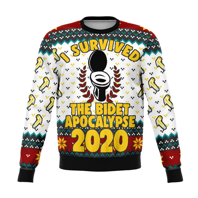 Survived Bidet Apocalypse 2020 Ugly Christmas Sweater - OnlyClout