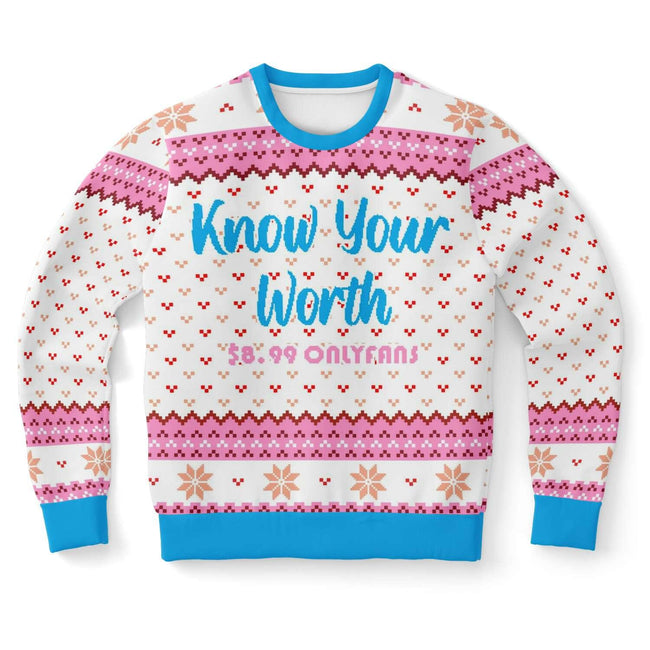 KNOW YOUR WORTH  UGLY CHRISTMAS SWEATER - OnlyClout