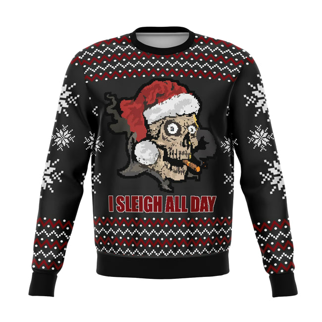 Sleigh All Day Funny Ugly Christmas Sweater - OnlyClout