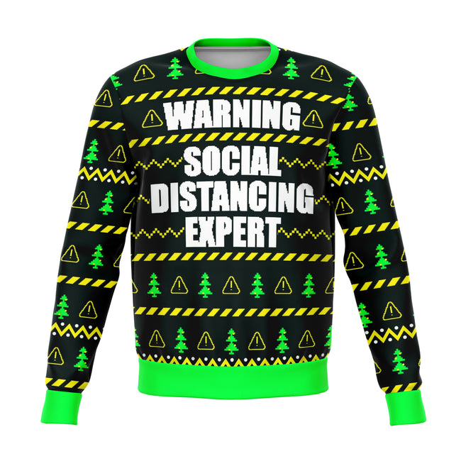 Social Distancing Expert Funny Ugly Christmas Sweater - OnlyClout