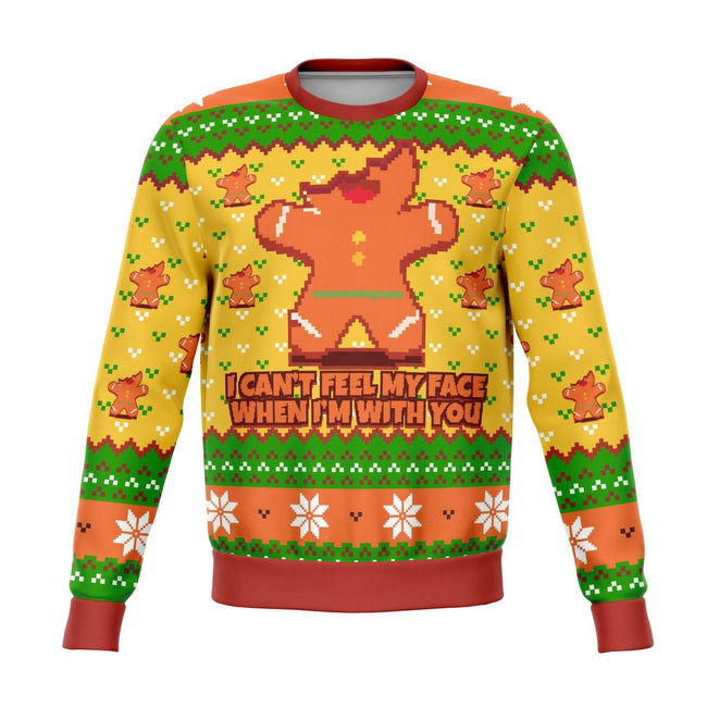 I Cant Feel My Face When I'm With You Funny Ugly Christmas Sweater - OnlyClout