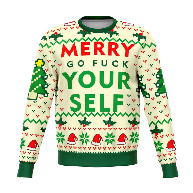 Merry Go F Yourself Funny Ugly Christmas Sweater - OnlyClout