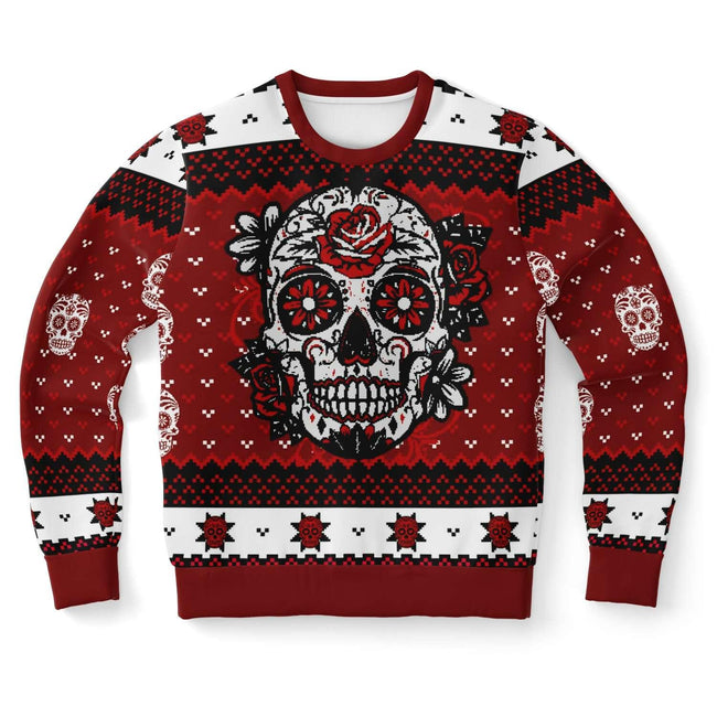 DAY OF THE DEAD RED UGLY CHRISTMAS SWEATER - OnlyClout