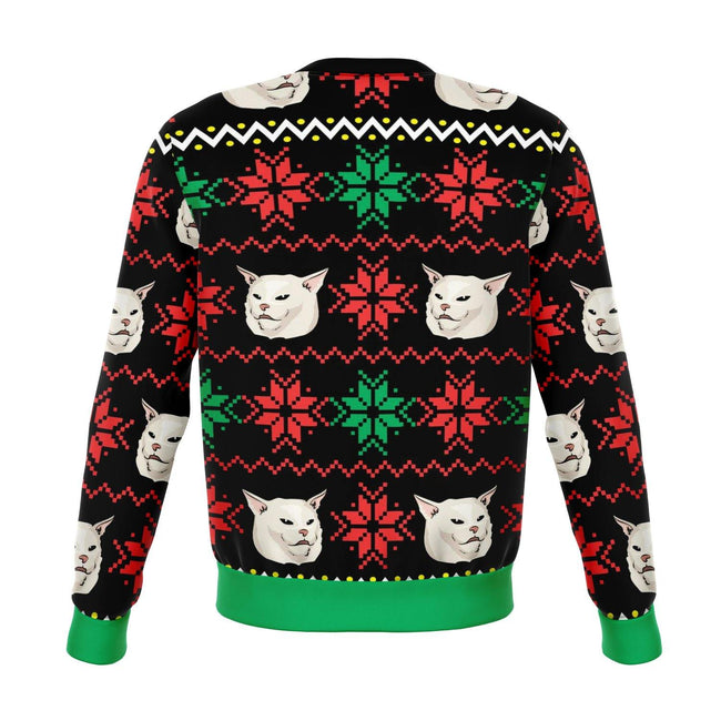 Karen Yelling at Grumpy Cat Meme Dank Ugly Christmas Sweater - OnlyClout