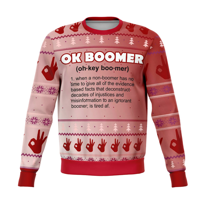 Ok Boomer Mean Ugly Christmas Sweater - OnlyClout