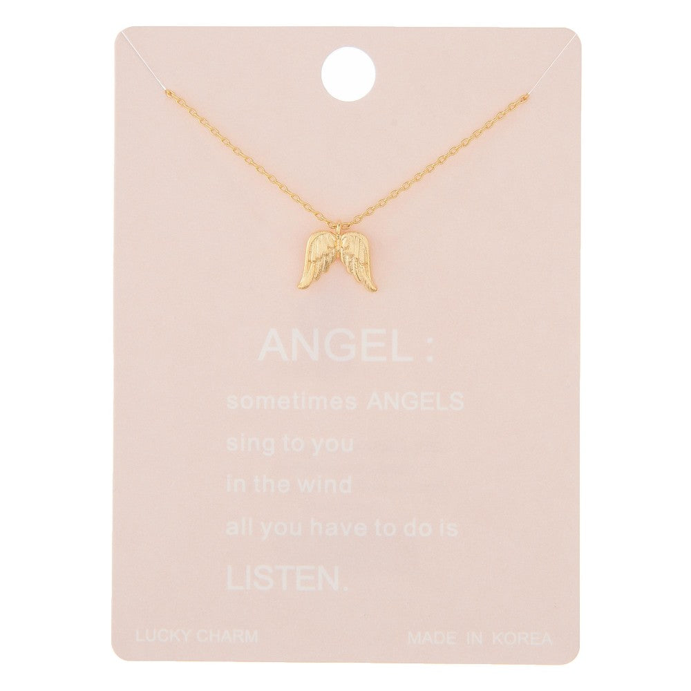 Dainty angle wing lucky charm necklace