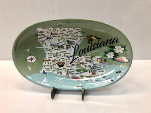 Louisiana Map Tidbit Tray