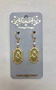 Gold Divine Mercy Earrings.
