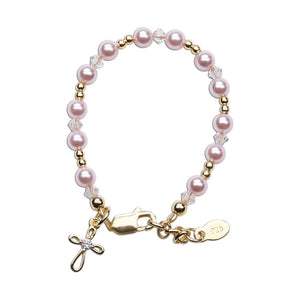 Lauren - 14K Gold-Plated Pink Pearl Cross Bracelet 1-5 Years