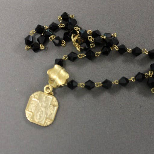 18-inch Necklace Black Rosary Chain with Religious Square 4 way Cross.