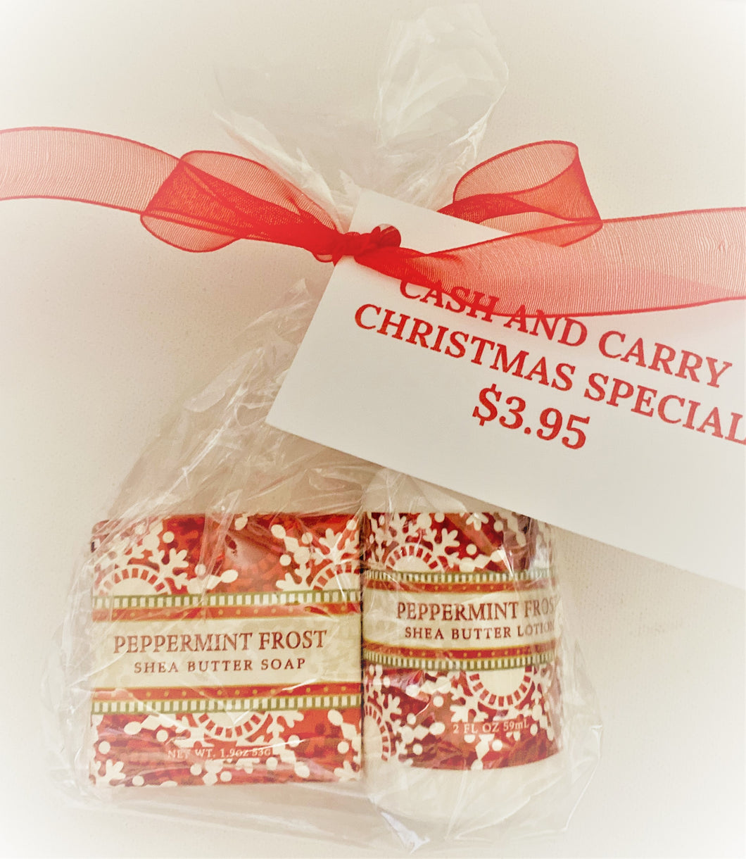 Elizabeth's Pick---Peppermint soap and lotion pick up gift