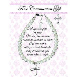 Sterling Silver First Communion Lacey Bracelet