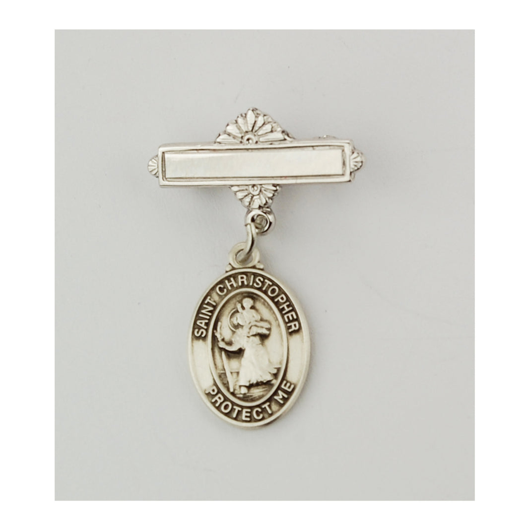 Baby Pin Sterling Silver St. Christopher Medal
