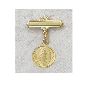 Baby Gold Miraculous Medal Pin