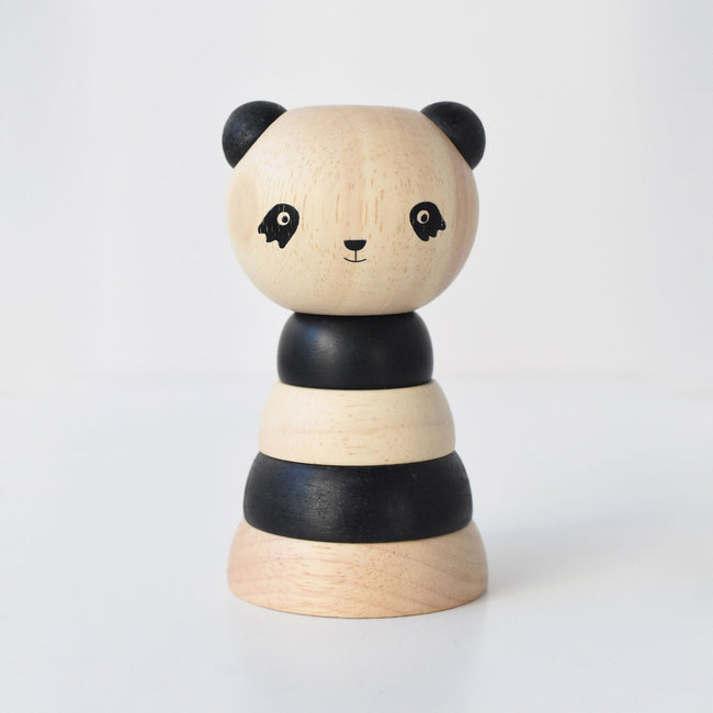 Wood stacker toy - panda