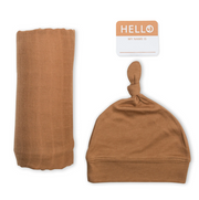 Swaddling Blanket & Matching Hat - Tan