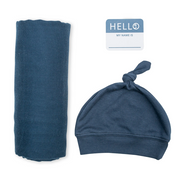 Swaddling Blanket & Matching Hat - Navy