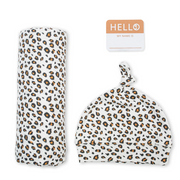 Swaddling Blanket & Matching Hat - Cheetah
