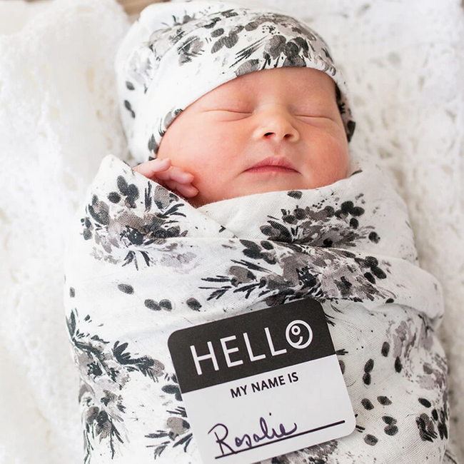Swaddling Blanket & Matching Hat - Black Floral