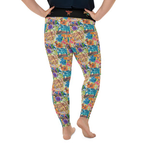 Randy Quilted Words All-Over Print Plus Size Leggings