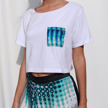 Load image into Gallery viewer, Short sleeve crop t-shirt with printed pocket and gold zipper detail