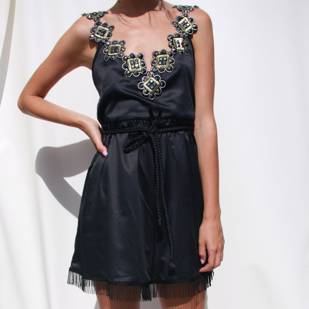 Embellished Playsuit Black