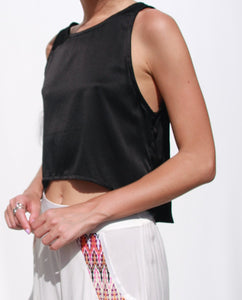 Cropped loose fit silk plain cami with asymmetrical back