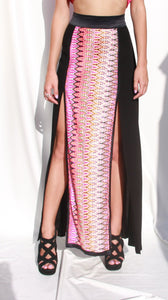 High Waist Maxi Skirt with print and splits