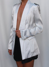 Load image into Gallery viewer, White Longline Satin Blazer with Embellished Shoulders