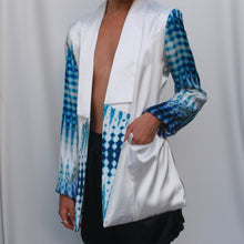 Load image into Gallery viewer, White Longline Satin Blazer with Printed sleeves