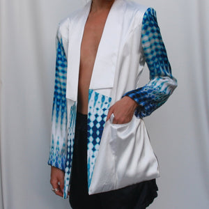 White Longline Satin Blazer with Printed sleeves