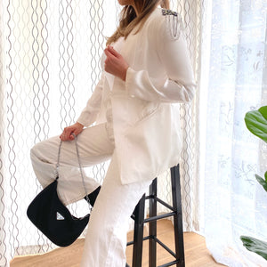 White Longline Satin Blazer with Embellished Shoulders