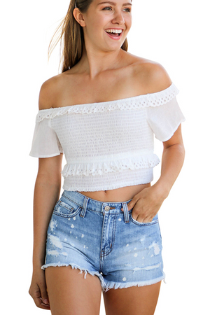 Ripped Hole Short Tassel Short