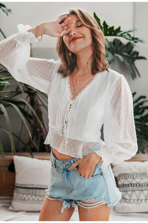 Lace up v-neck  blouse
