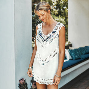 White Crochet Sleeveless t V-neck Beach Dress