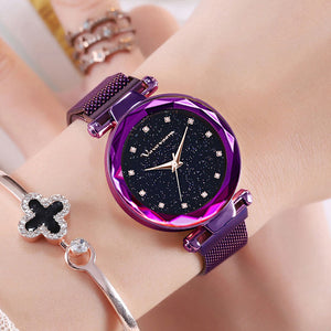 Quartz Watches Women Magnet Buckle Starry Sky Dial Quartz Watch Casual Luxury Geometric Surface Ladies Female Diamond Watches