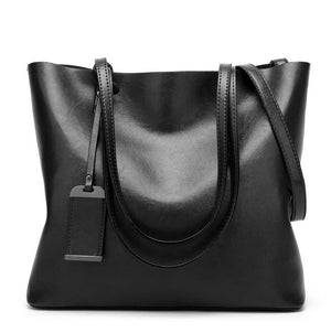 Waxing Leather bucket bag Simple Double strap handbag shoulder bags For Women 2018 All-Purpose Shopping tote sac bolsa feminina