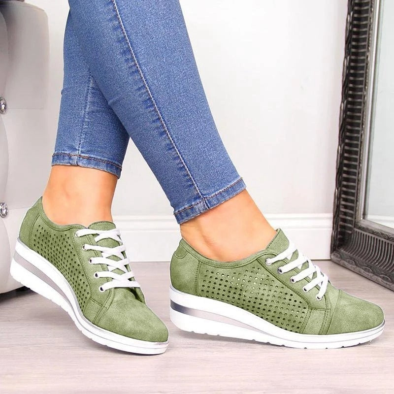 New females Flats Summer Leather Shoes Low Heels Slip On Casual Soft Flat Shoe Bow-knot Hollow Breathable Ladies Loafers Sandals