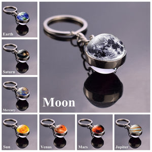 Solar System Planet Keyring Galaxy Nebula Space Keychain Moon Earth Sun Mars Art Picture Double Side Glass Ball Key Chain