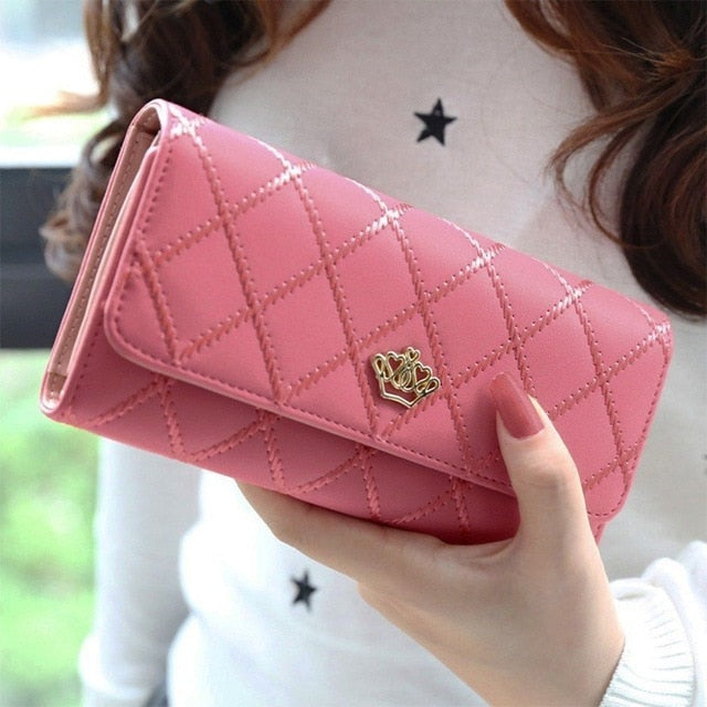 Women Lady Clutch Leather Wallet