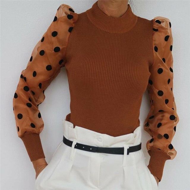 Women Spring Mesh Puff Long Sleeve Ribbed Knitted Shirt Loose Casual Polka Dots Blouse Tops Elegant Turtleneck Party Clubwear