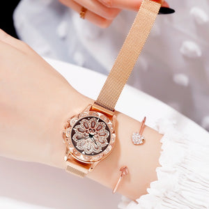 ORANGE Brand Top luxury Japan MIYOTA Quartz 360° Rotating Petals Women Watches Ladies Gifts Stainless Steel Waterproof Watches