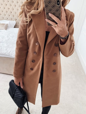 Winter Coats and Jackets Women Double Breasted Long Coat  Korean Elegant Vintage Coat Female Plus Size Warm Black Blazer Jacket