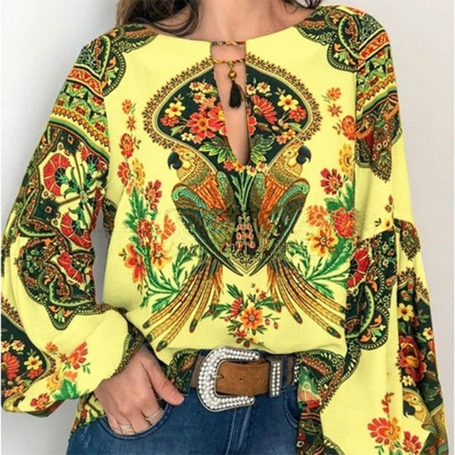 S-5XL Women Bohemian Clothing Blouse Shirt Vintage Floral Print Tops Ladies Blouses Blusa Feminina Plus size